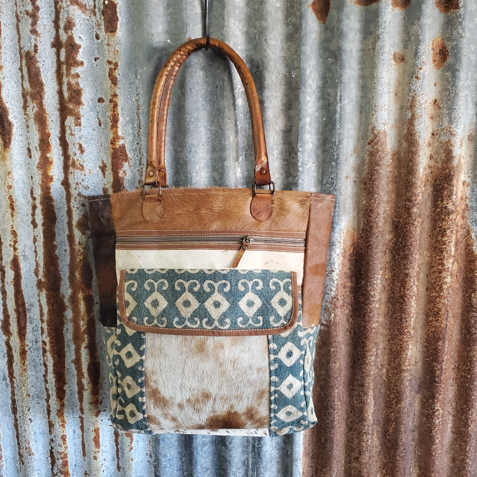 Blue Diamond Cowhide Tote Front