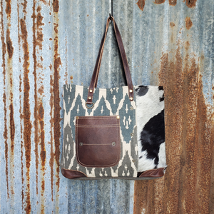 Blue Flame Pattern and Cowhide Trim Tote Front