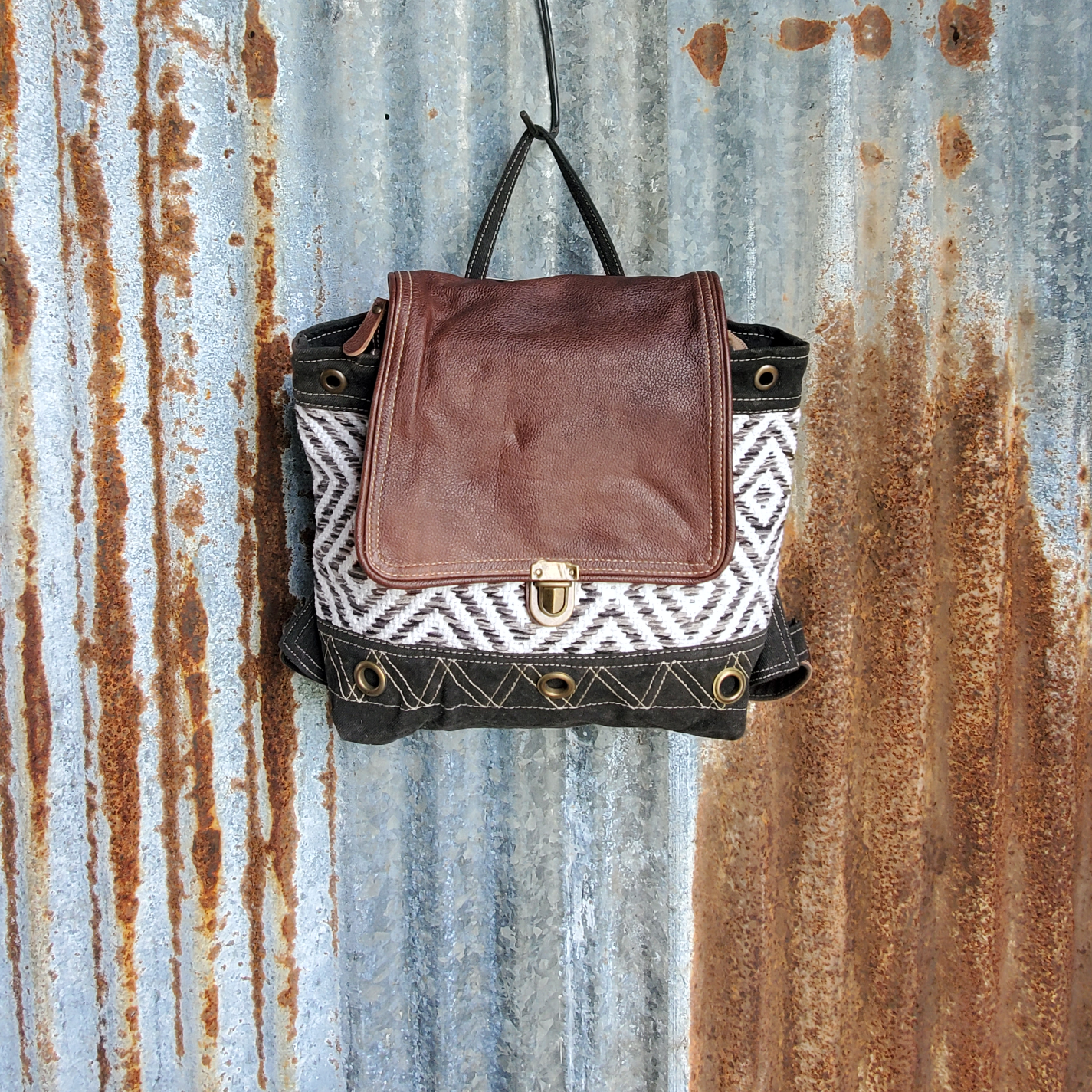 Diamond Pattern and Leather Backpack Front