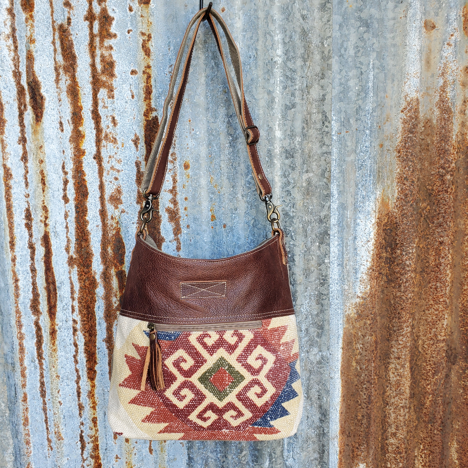 Red and Cream Flower Crossbody Front