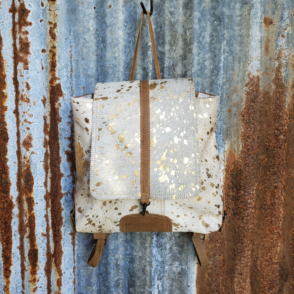 White Cowhide Gold Speckle Backpack Front