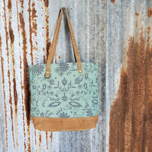 Green Floral Leather Bottom Tote Front