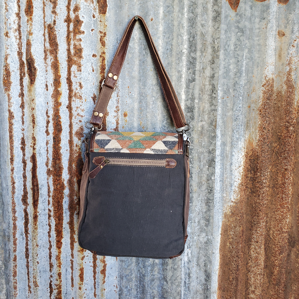 Multi Colored Canvas Cross Body Back