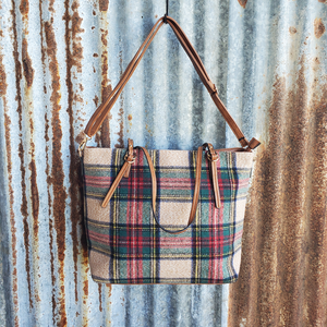 Multi Color Plaid Tote Front