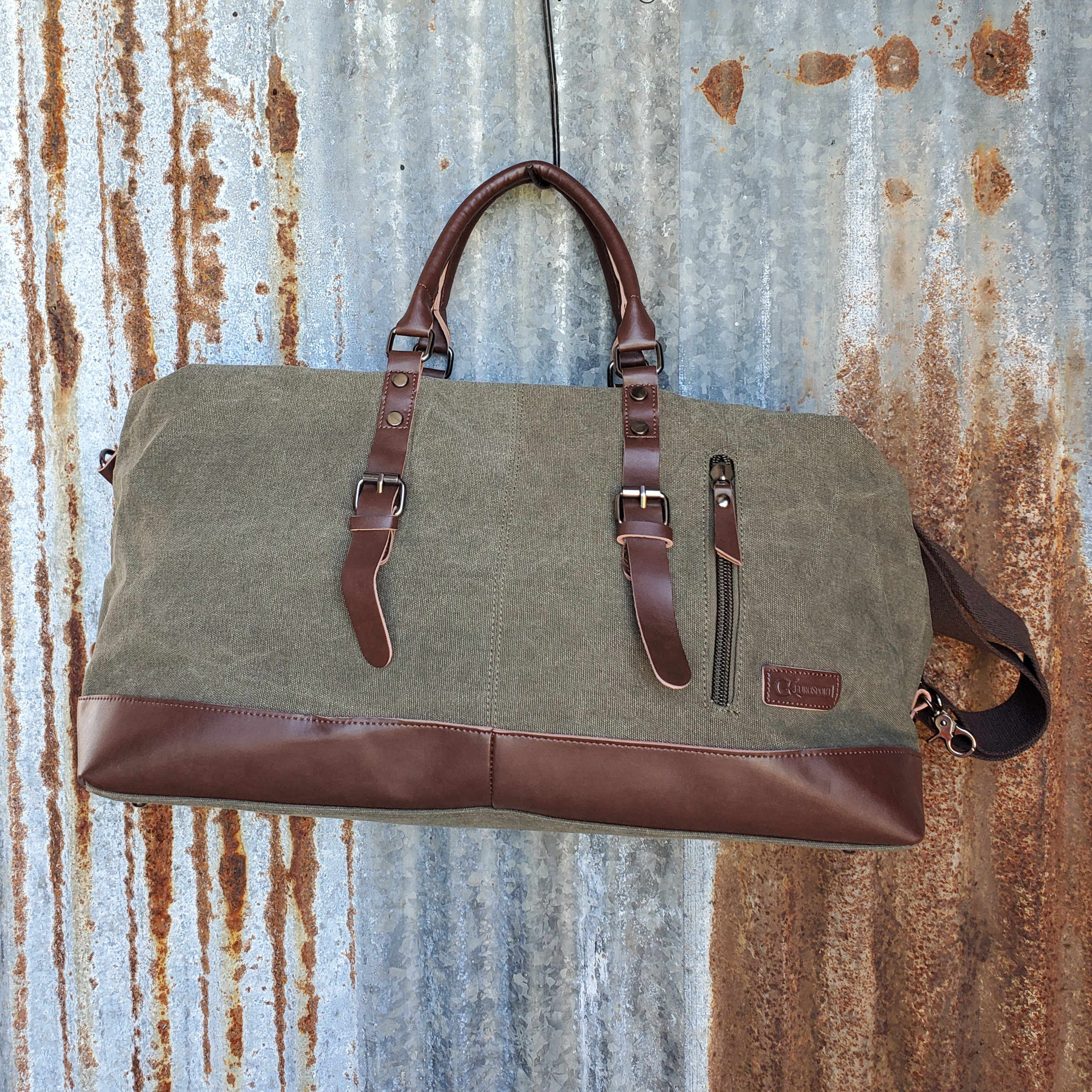 Olive Canvas and Leather Duffel Bag Front