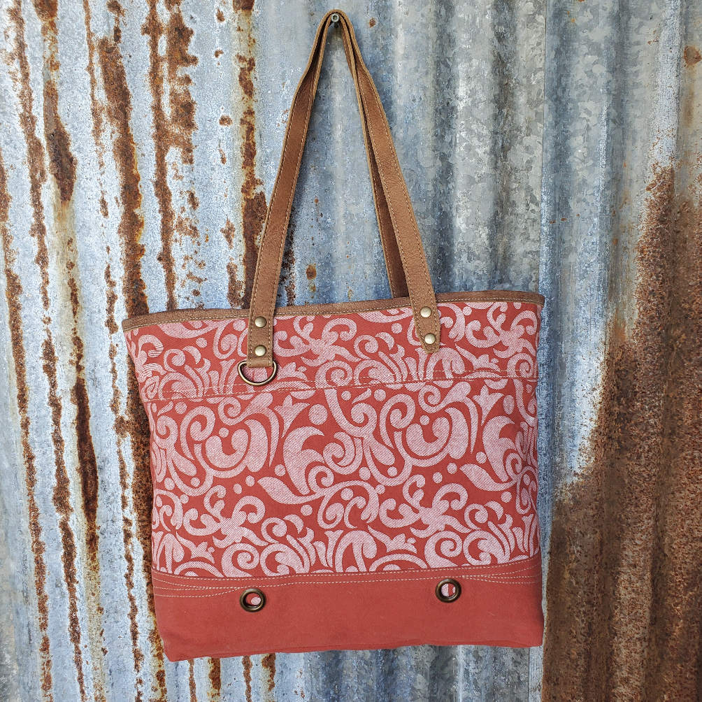 Red Paisley Canvas Tote Front