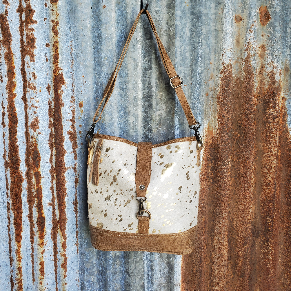 Gold Speckle and Leather Bottom Cross Body Front