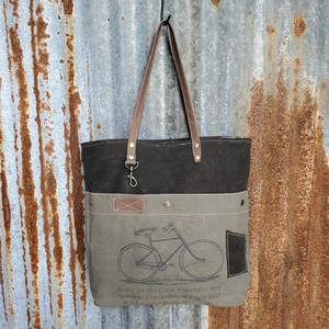 Olive and Black  Bicycle Logo Tote Front