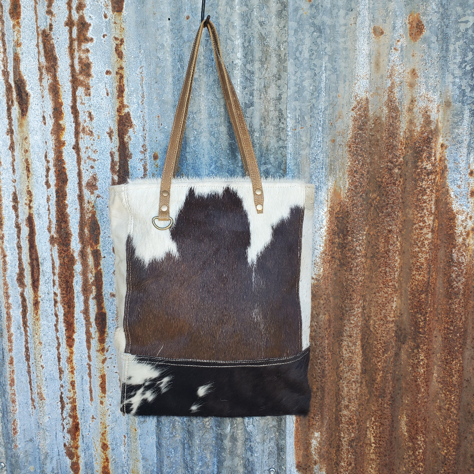 Black and White Cowhide Tote Front