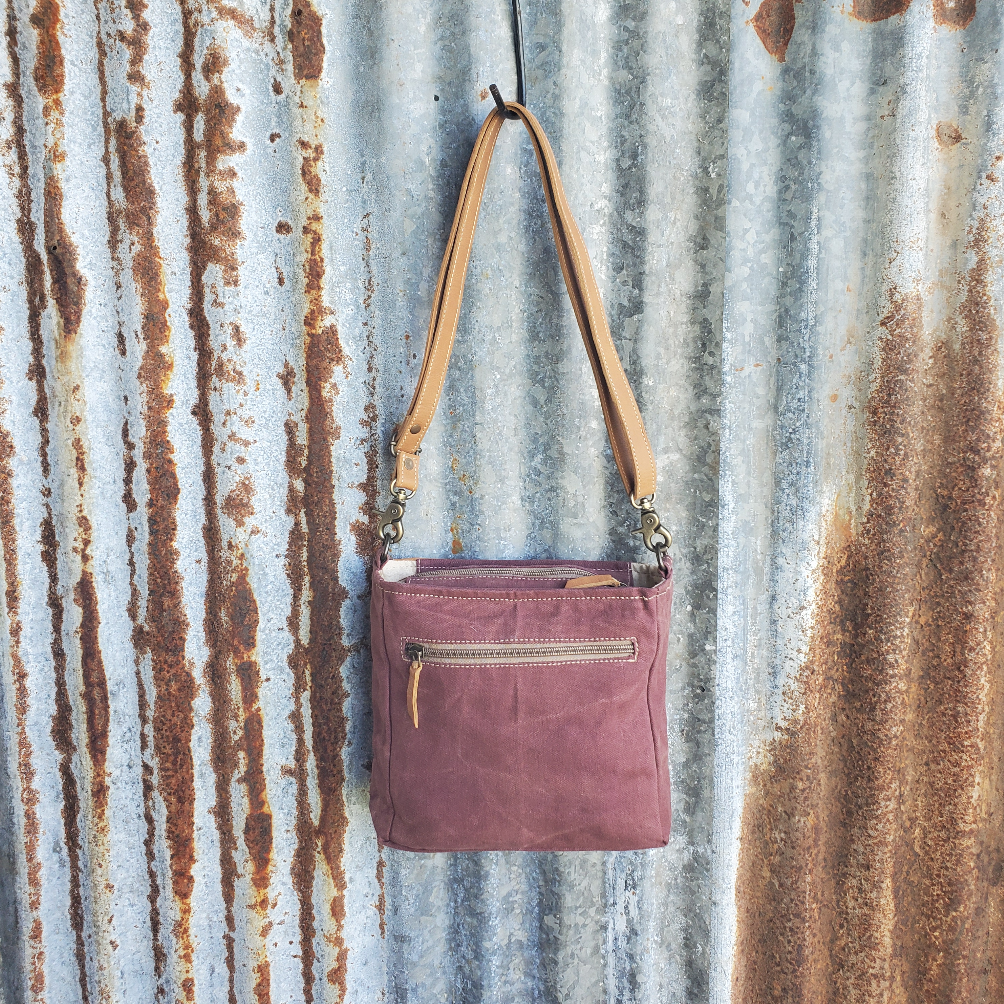 Burgundy Floral Crossbody Back