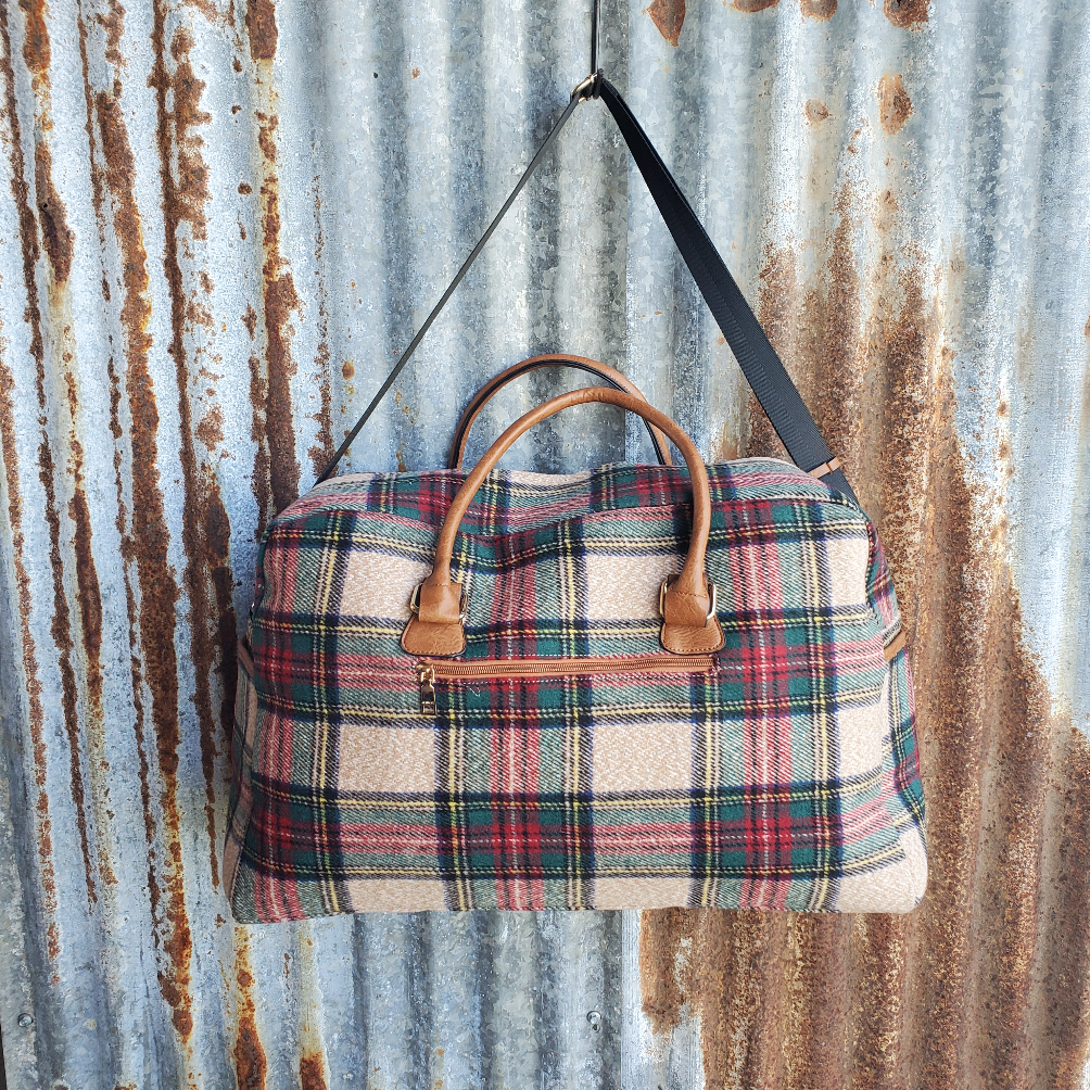 Multi Color Plaid Duffle Bag Back