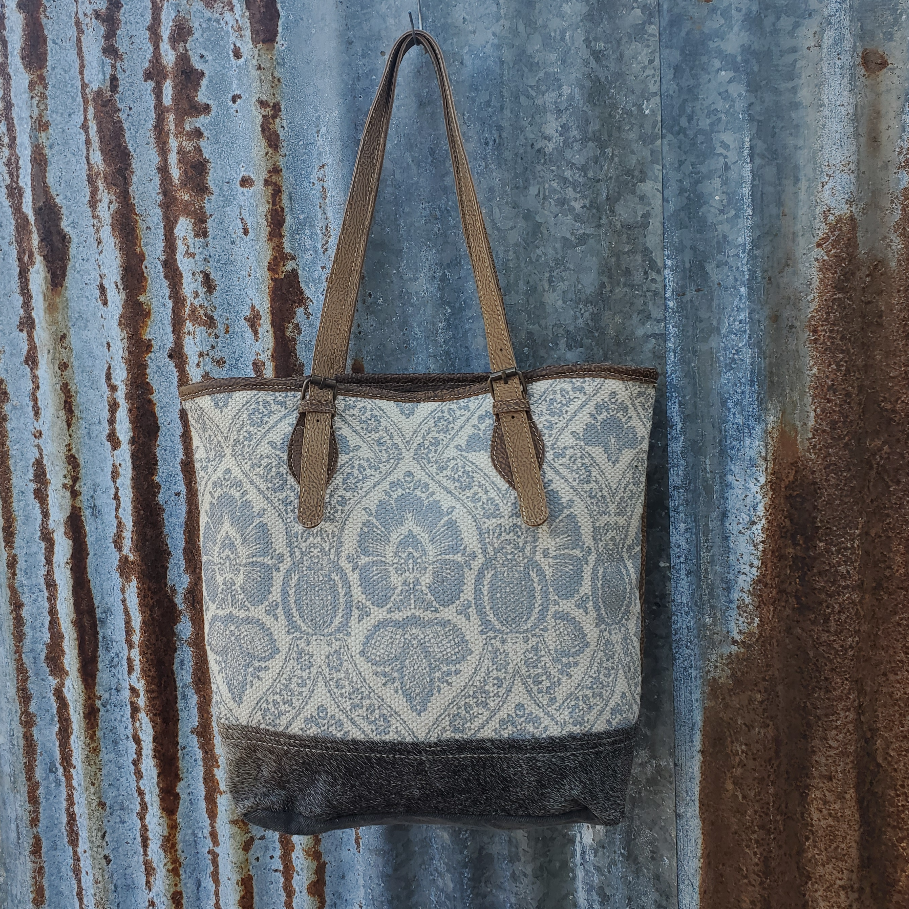 Floral  Cowhide Conceal Tote Front