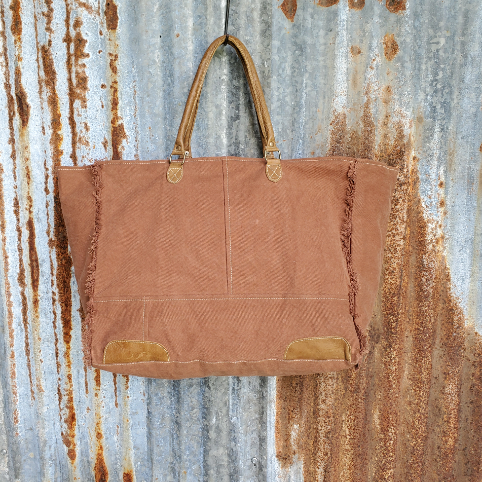 Indian Summer with Cowhide Weekender Bag Back