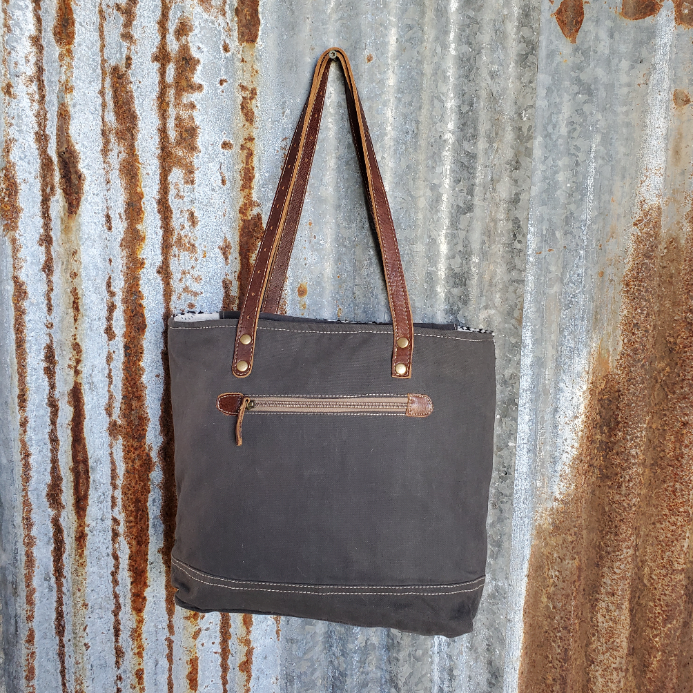 Camo and Leather Tote Back