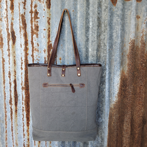 Diamond Patter Canvas and Leather Tote Back