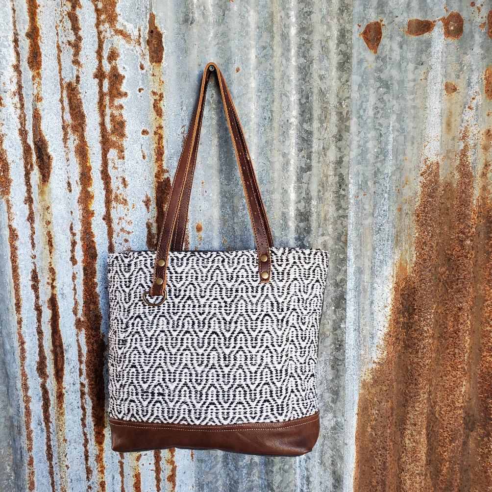 Swirl Pattern and Leather Tote Front