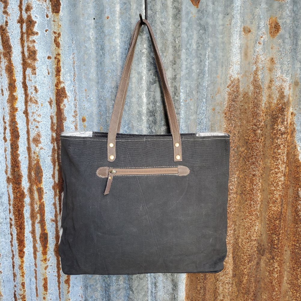 Turquoise Pinwheel and Cowhide Tote Back