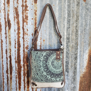 Turquoises  Floral Cowhide Bottom Trim Cross Body Front