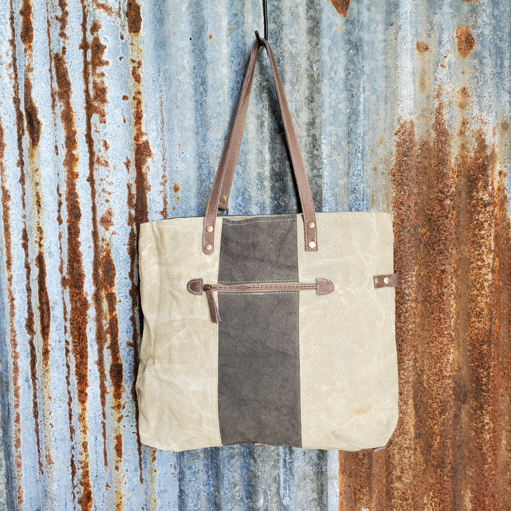 Tan and Brown Adventure Tote Back
