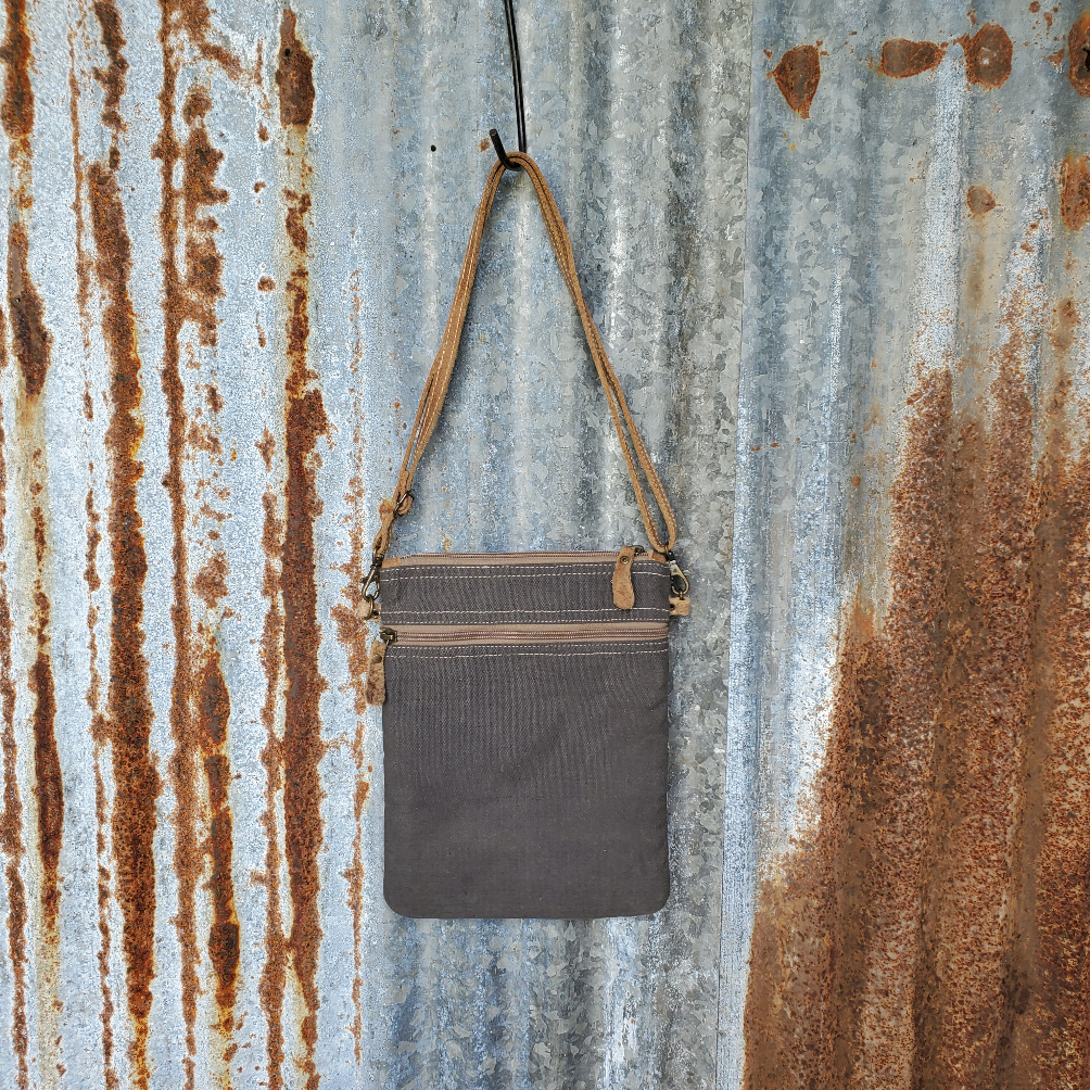 Small Chevron Pattern Cowhide Cross Body Back