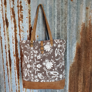 Brown and Cream Floral Tote Front