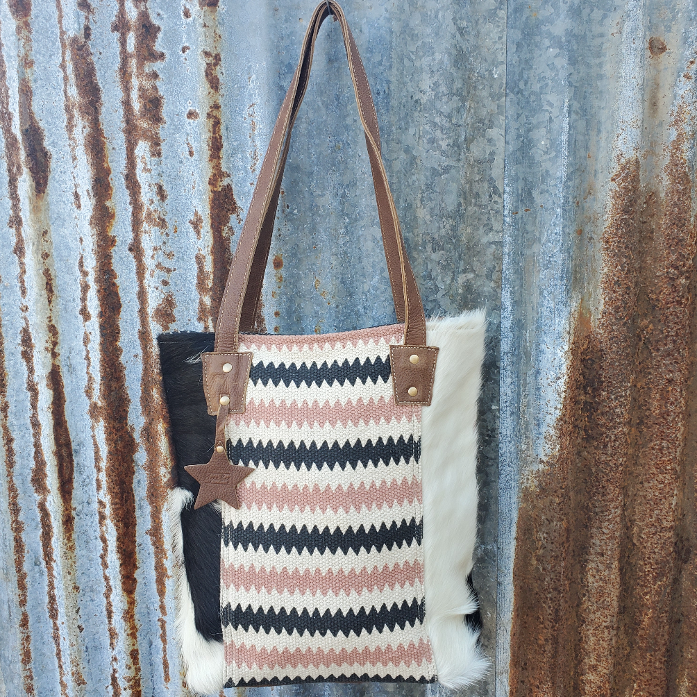 Chevron Cowhide Conceal and Carry Tote Front