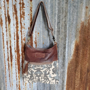 Camo Leather Trim Cross Body Front