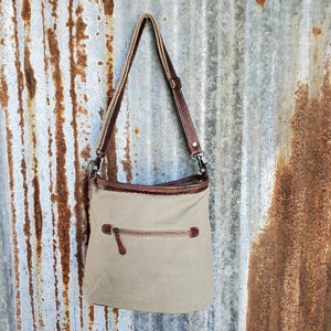Camo Leather Trim Cross Body Back
