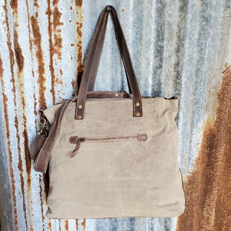 "Brown and Cream Tote, Chateau Pattern, Zipper Pocket, 28"" Adjustable Strap - Benj"