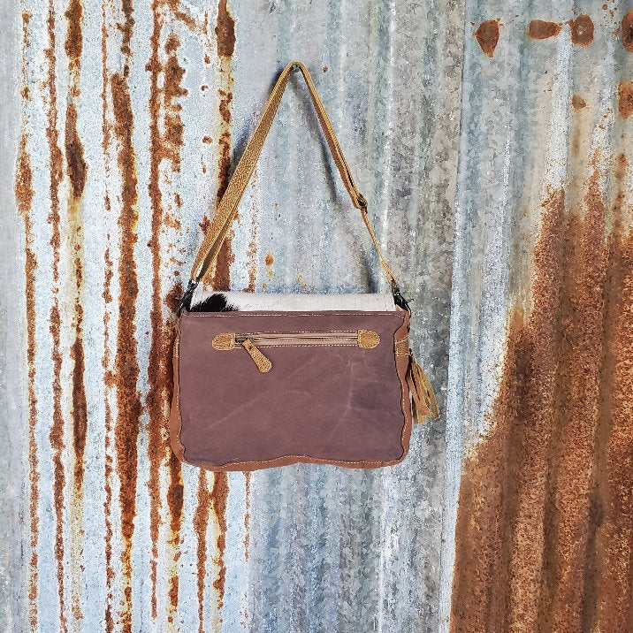 Chevron Cowhide Fold Over Cross Body Back