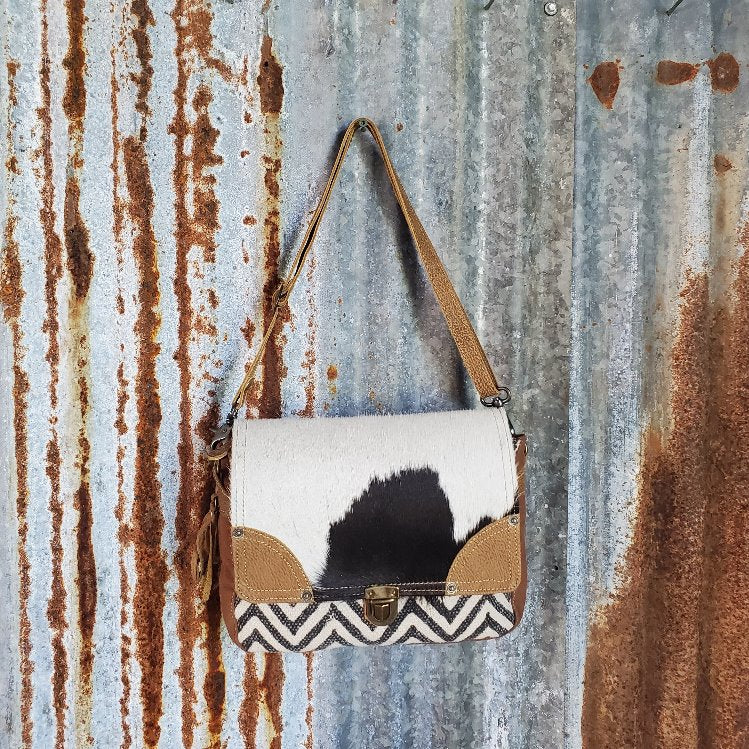 Chevron Cowhide Fold Over Cross Body Front