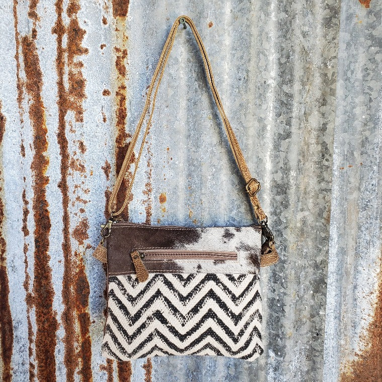 Small Chevron and Cowhide Cross Body Front