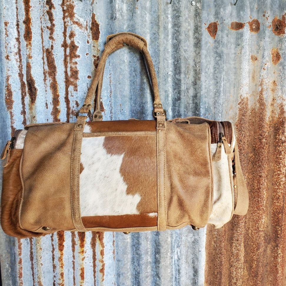 Cinnamon and Cream, Cowhide and Leather Duffel Bag Front