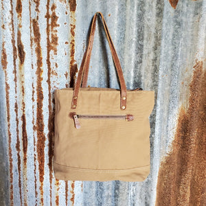 Cream, Brown and Yellow, Canvas Tote Back