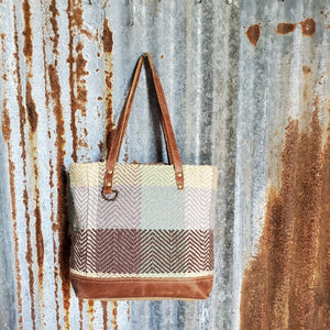 Cream, Brown and Yellow, Canvas Tote Front