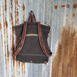Endearing Pattern Canvas and Cowhide Back Pack Back