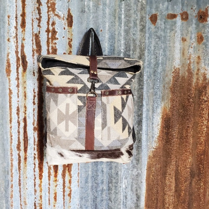 Endearing Pattern Canvas and Cowhide Back Pack Front