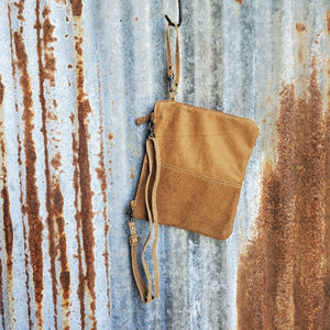 Gold Speckle Cowhide Cross Body with Wristlet Back