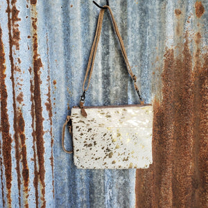 Gold Speckle Cowhide Cross Body with Wristlet Front
