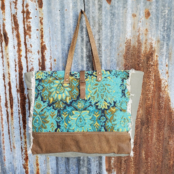 Vibrate Green, Gold and Blue Canvas Weekender Bag Front