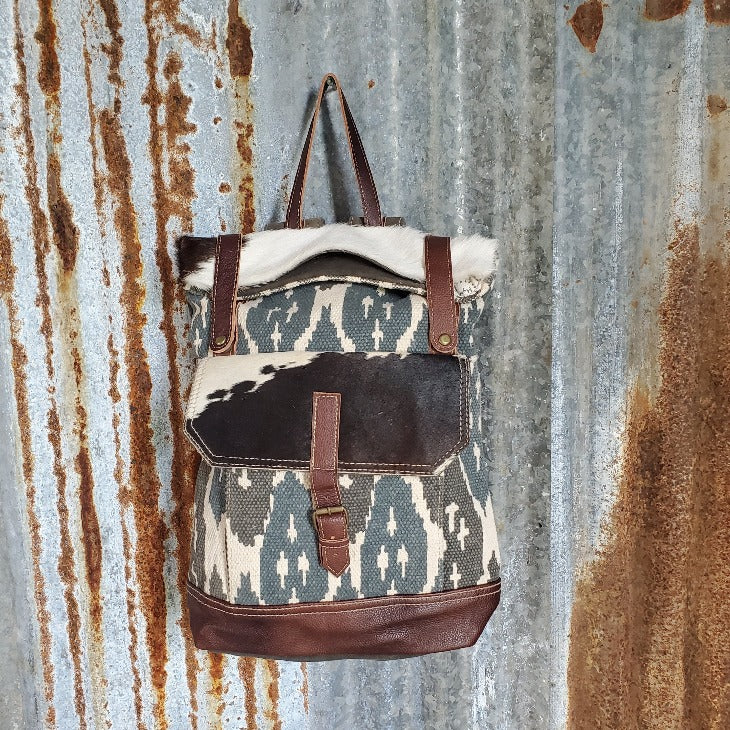 Large Camo and Cowhide Back Pack Front