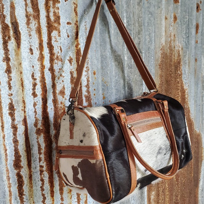 Cowhide Duffel Bag Side