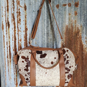 Over Size Brown and White Cowhide Duffel Front