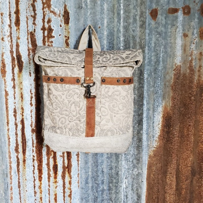 Large Cream and Gray, Paisley Pattern Back Pack, front