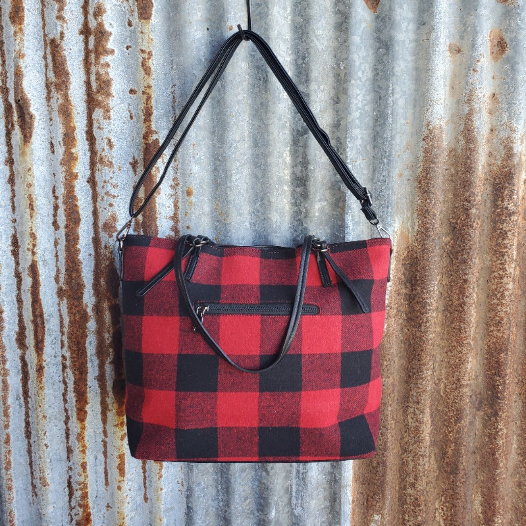 Red Plaid Tote Front