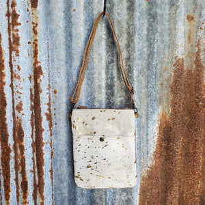 "Small White Cowhide, Leather, Gold Speckle Pattern Cross Body, 22"" Leather Adjustable Strap - Myra"
