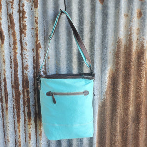 Seafoam Blue Dark Leather Cross Body Back