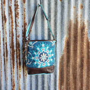 Seafoam Blue Dark Leather Crossbody Front