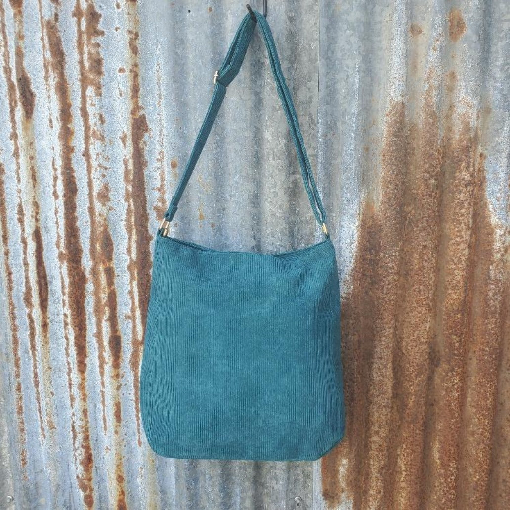 Teal Corduroy Crossbody Back