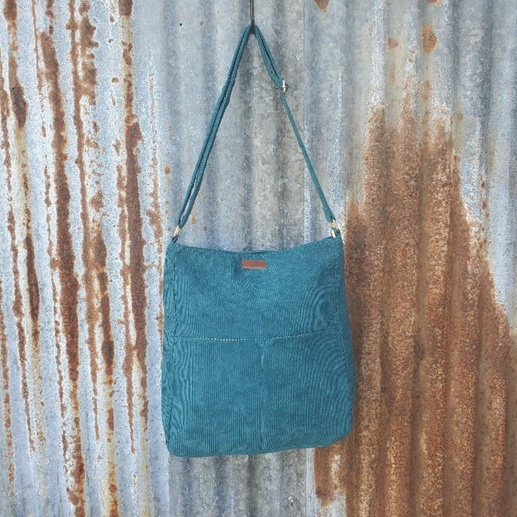 Teal Corduroy Crossbody Front